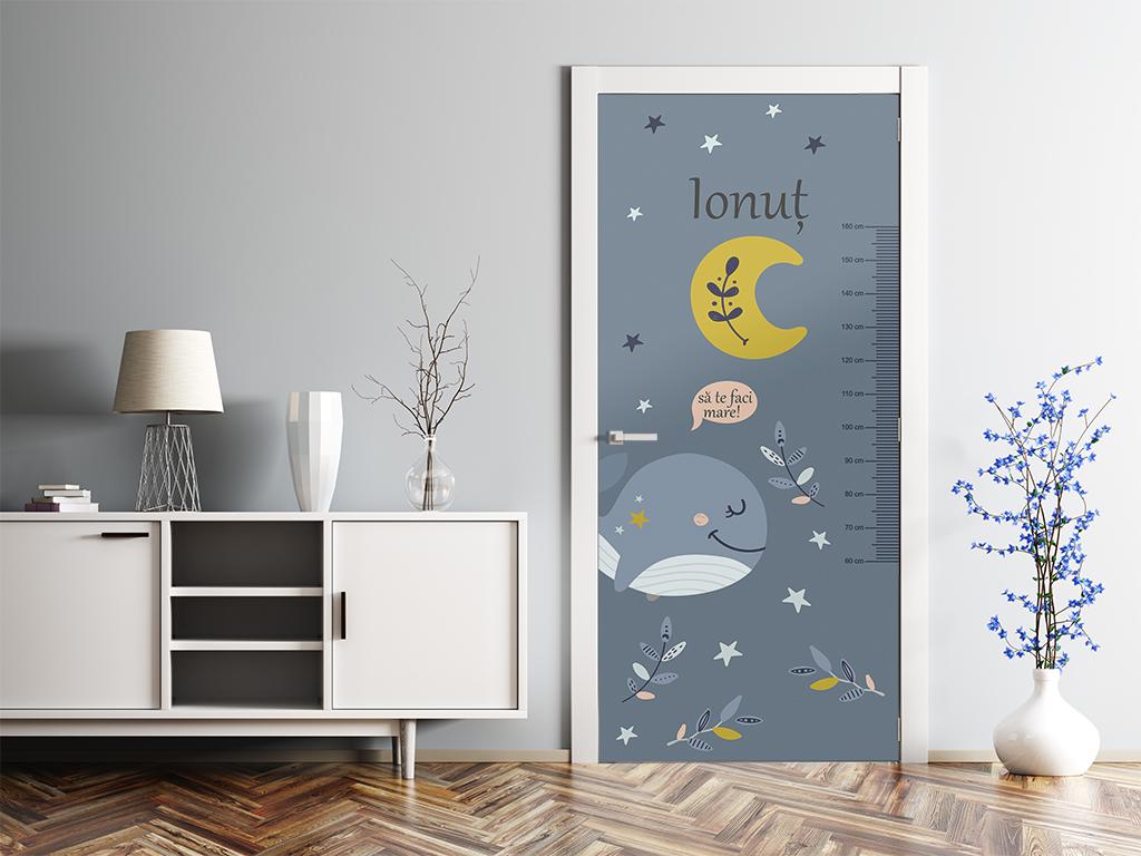 Autocolant-uşă-pentru-cameră-copii-Folina-cu-Balenă-şi-gradaţie-metru-2-4378