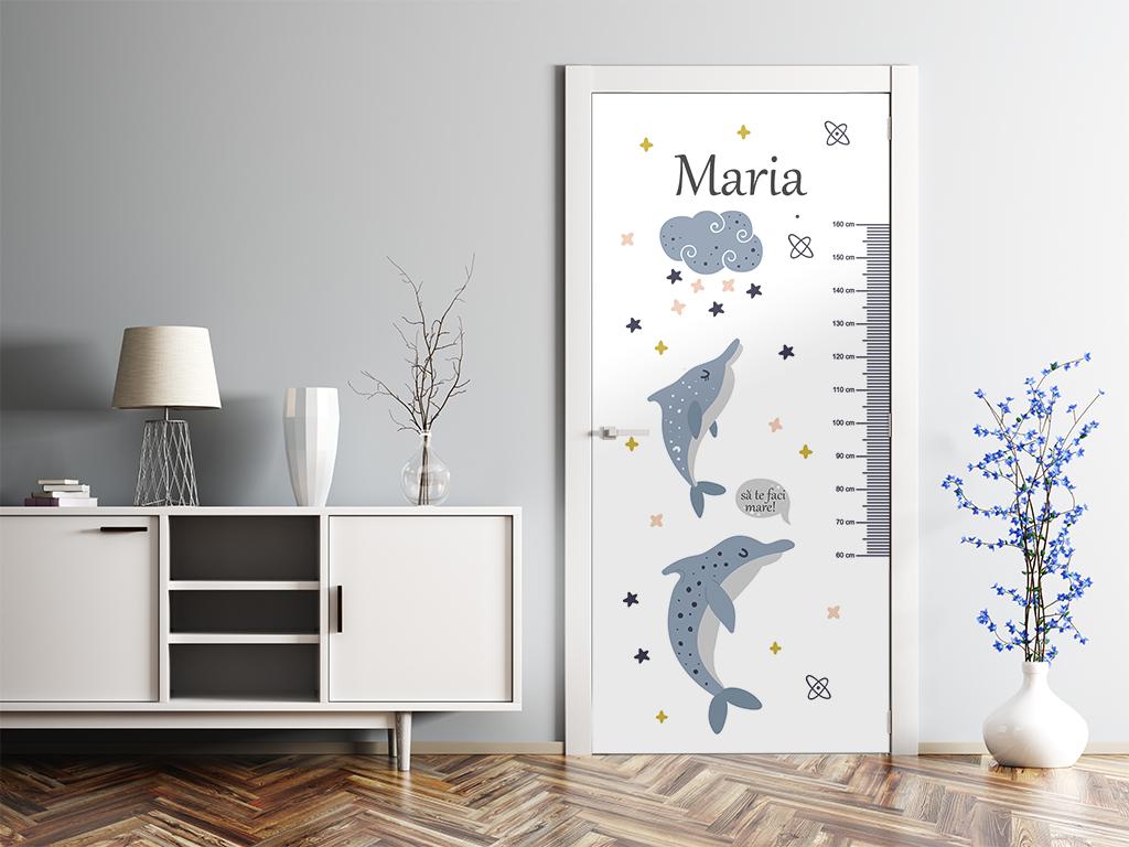 Autocolant-uşă-pentru-cameră-copii-Folina-cu-delfini-şi-gradaţie-metru-2-5980