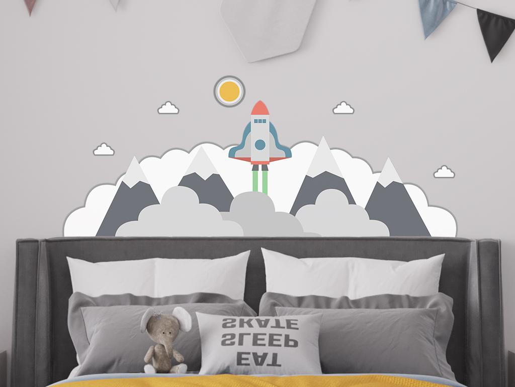 Sticker-perete-pentru-copii-model-racheta-nori-1-6177