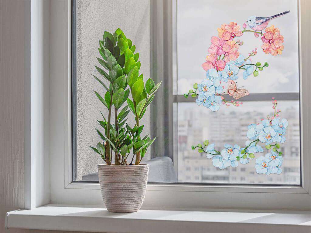 Stickere-geam-model-floral-pasare-1-3299