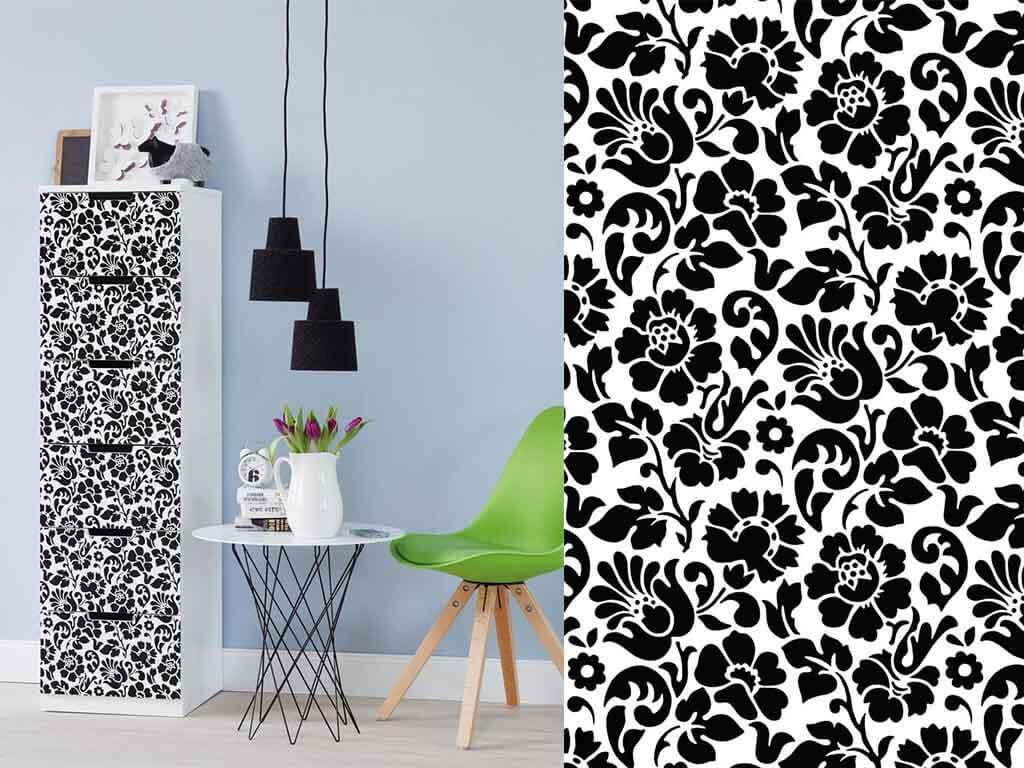 autocolant-decorativ-alb-flori-negr