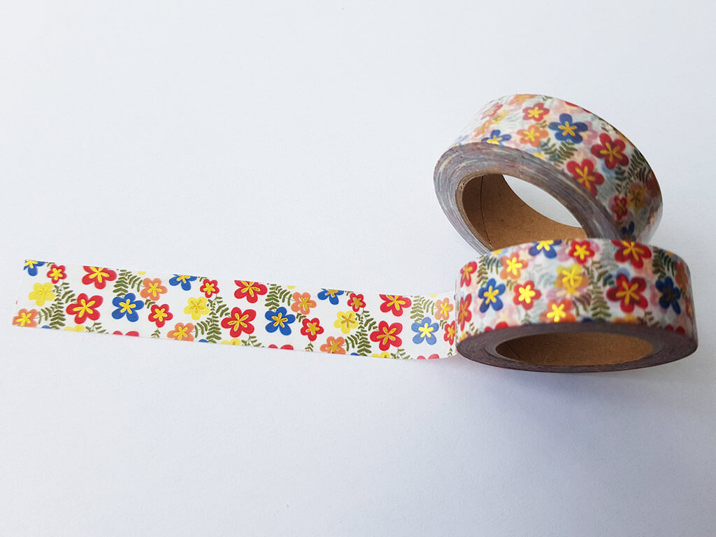 Bandă adezivă Washi Tape model floral 1