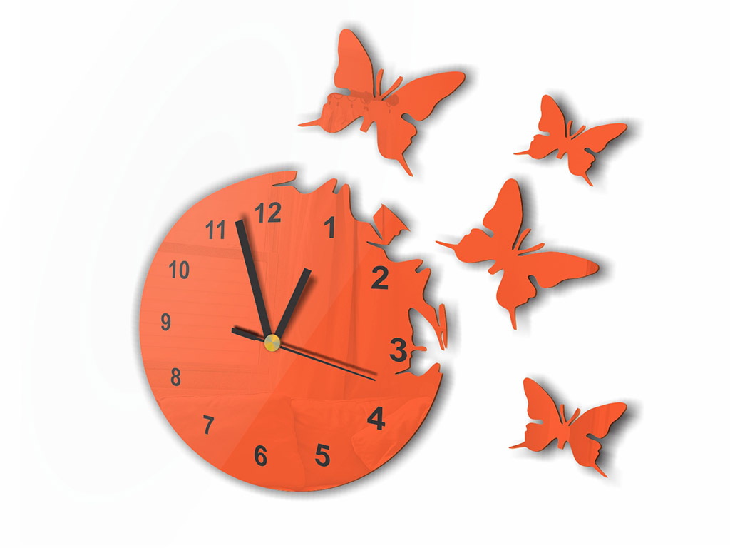 ceas-decorativ-fluturi-portocaliu-1594
