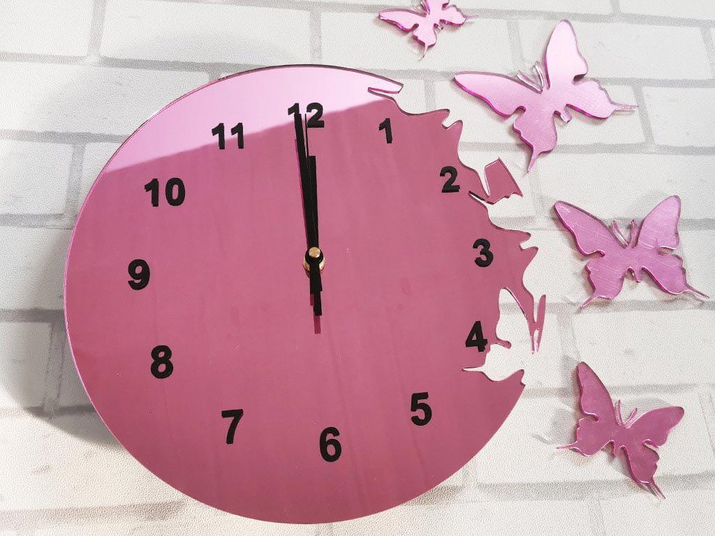 ceas-perete-fluturi-roz-2327