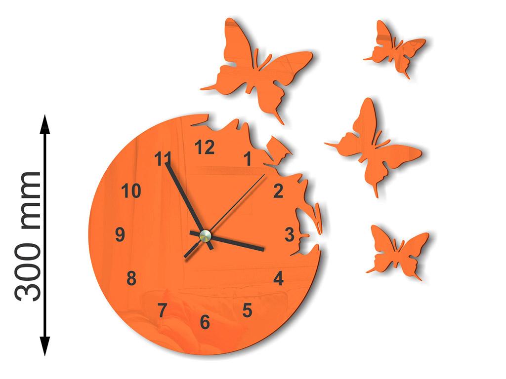 ceas-plexiglass-portocaliu-model-fluturi-7474