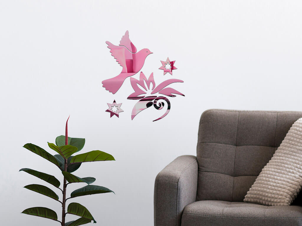 decoratiune-perete-oglinda-roz-pasare-in-zbor-8791