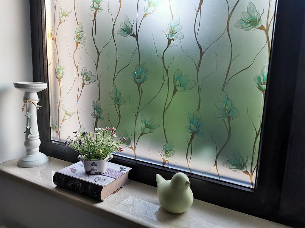 folie-geam-sablare-cu-model-floral-verde-3841