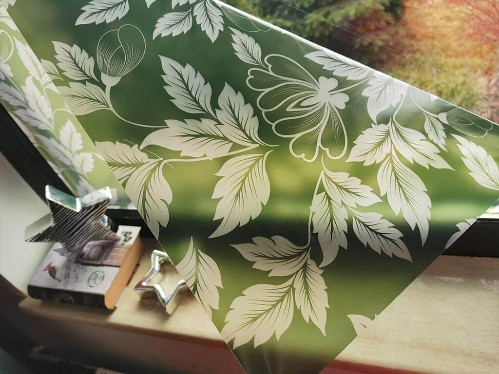 folie-sablare-verde-cu-model-floral-9139