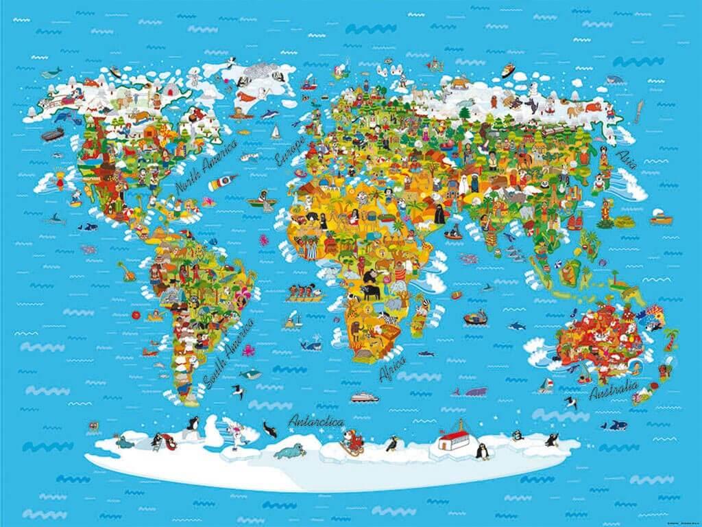 Fototapet Harta Lumii Pentru Copii Comanda Online De La Folina