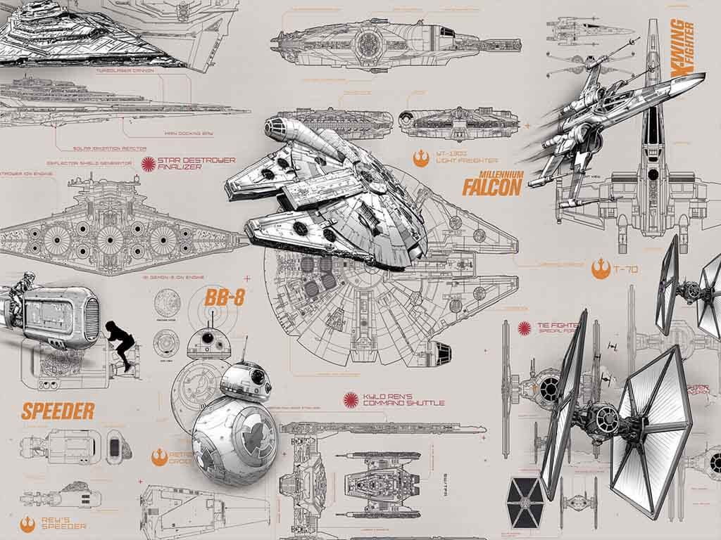 Fototapet Star Wars Blueprints