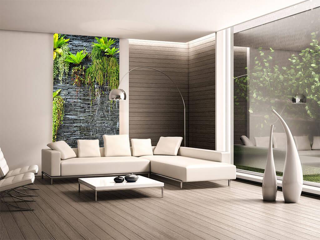 fototapet-zid-piatra-gri-cu-plante-verzi
