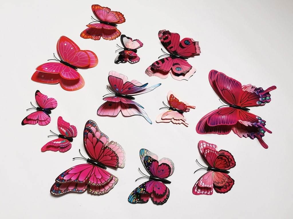 set-12-stickere-fluturi-3d-roz-inchis-3109