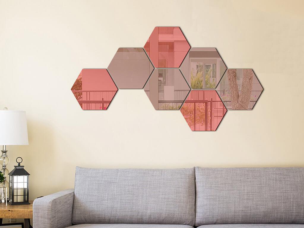 set-7-stickere-oglinda-hexagoane-rosii-si-bronz-7735