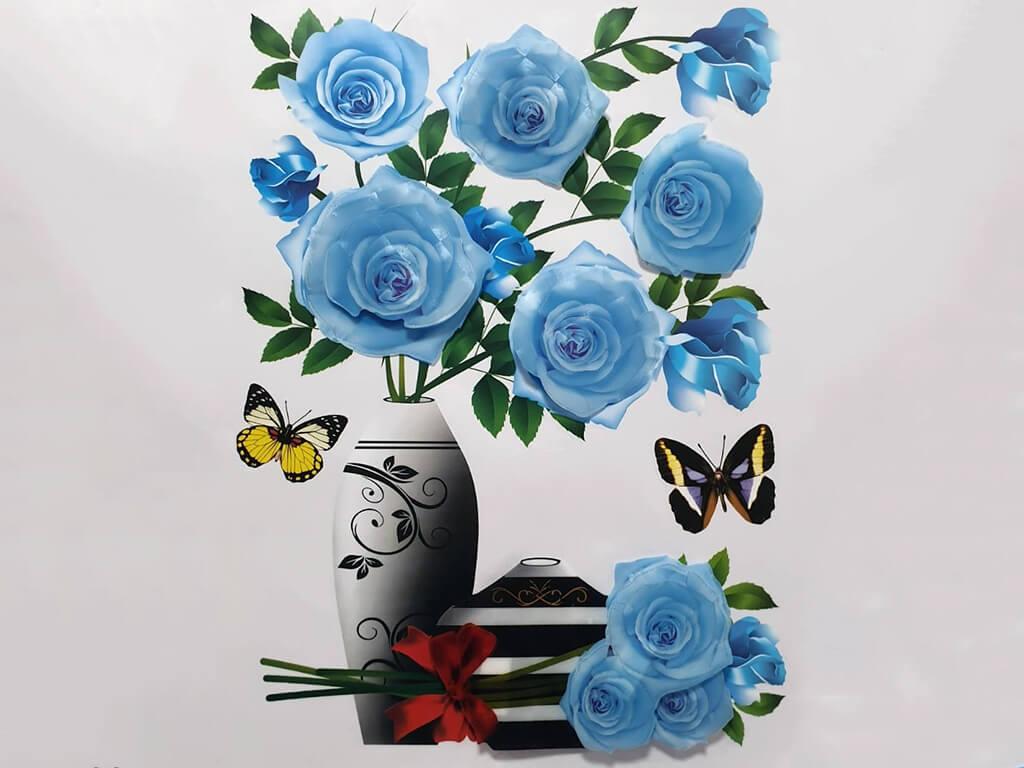 sticker-3d-vaza-cu-trandafiri-albastri-6386