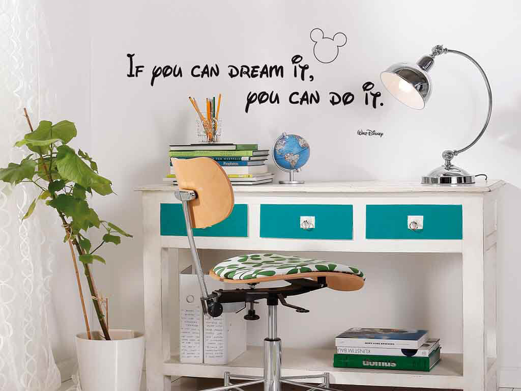 Sticker Disney You can do it, Komar, text motivațional, negru