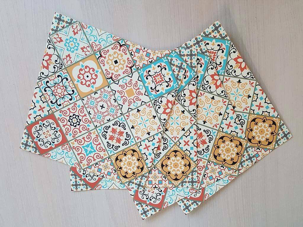 Stickere faianţă patchwork Sole - set 15 bucăţi
