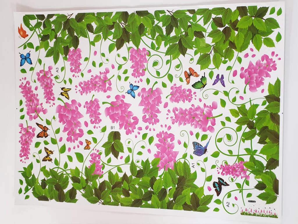 sticker-perete-bordura-flori-roz