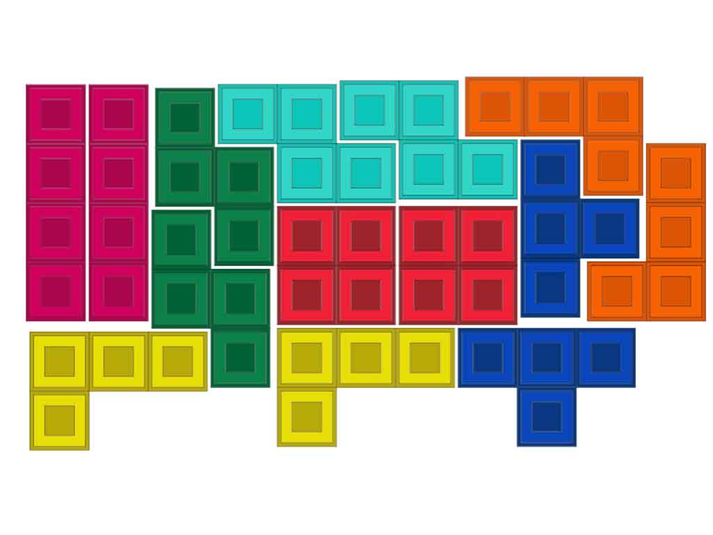 Sticker perete Tetris, Folina, autoadeziv, multicolor
