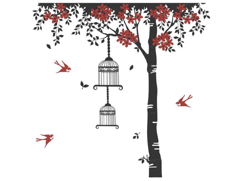 sticker-perete-copac-flori-rosii-folina-2453