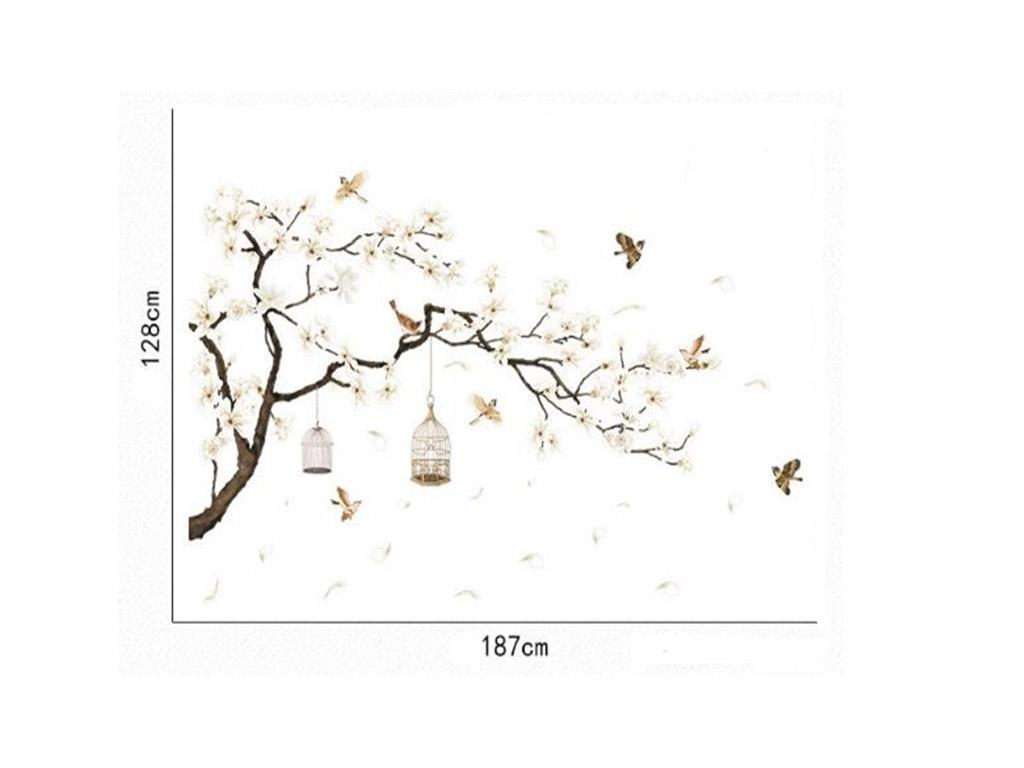 sticker-perete-creanga-flori-magnolie-si-pasari-2232