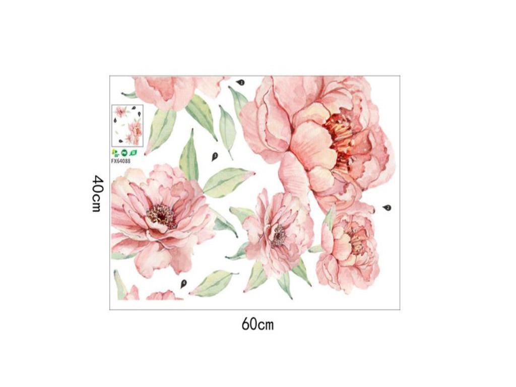 sticker-perete-flori-watercolor-bulori-roz-3095