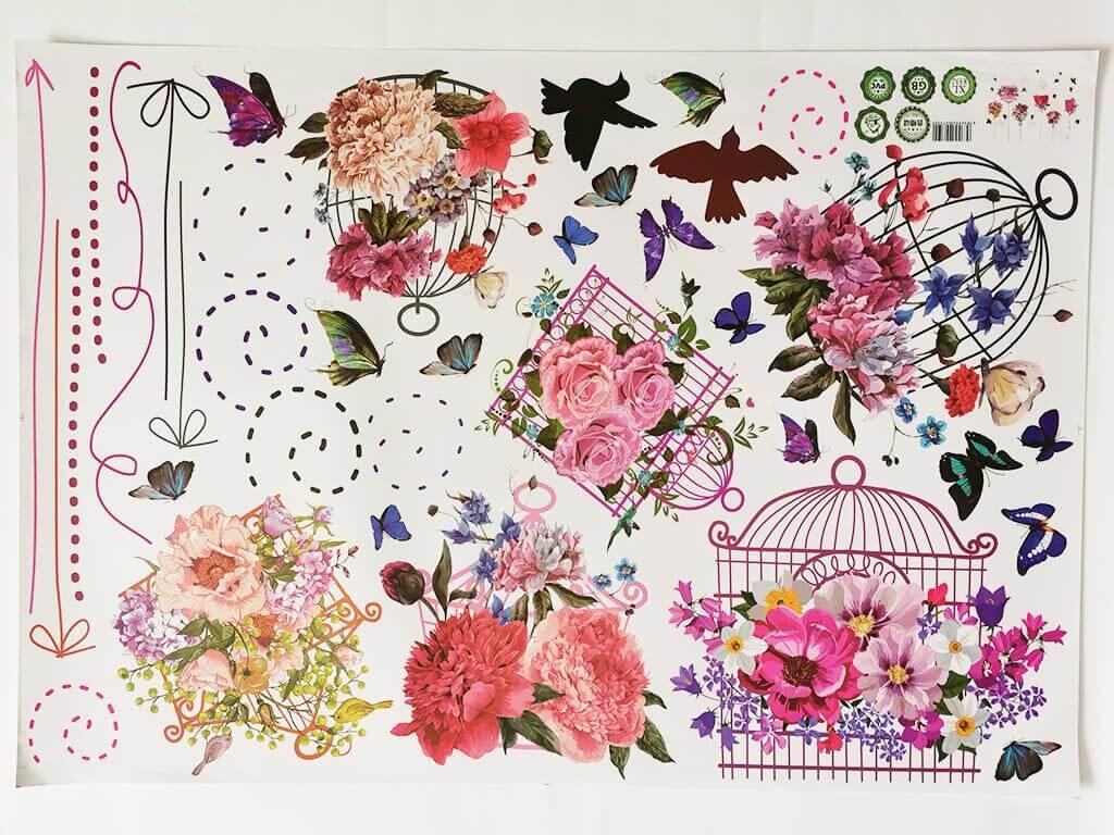 stickere-colivii-cu-flori-fluturi-multicolor