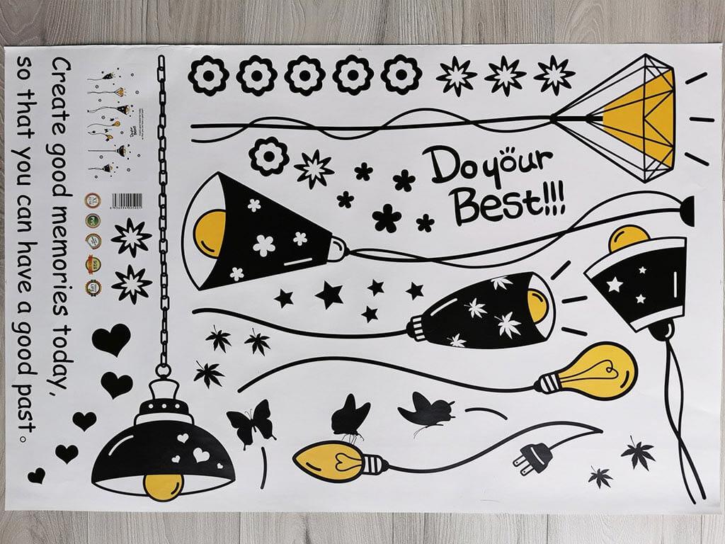 stickere-decorative-lustre-negre-si-becuri-galbene-4830