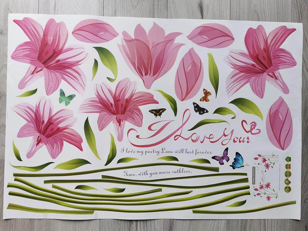 Stickere flori, Folina, decor floral roz