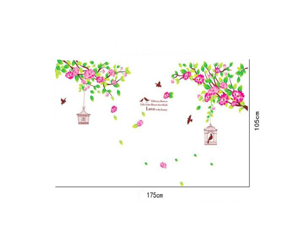 stickere-flori-folina-crengi-cu-flori-roz-si-colivii-9896