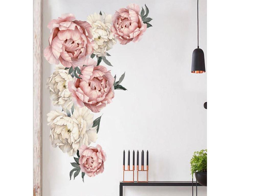 stickere-flori-folina-decor-bujori-roz-crem-7356