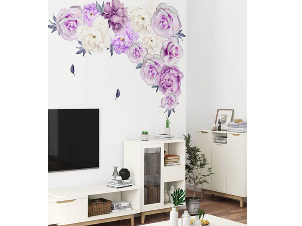 Stickere flori, Folina, decor floral lila