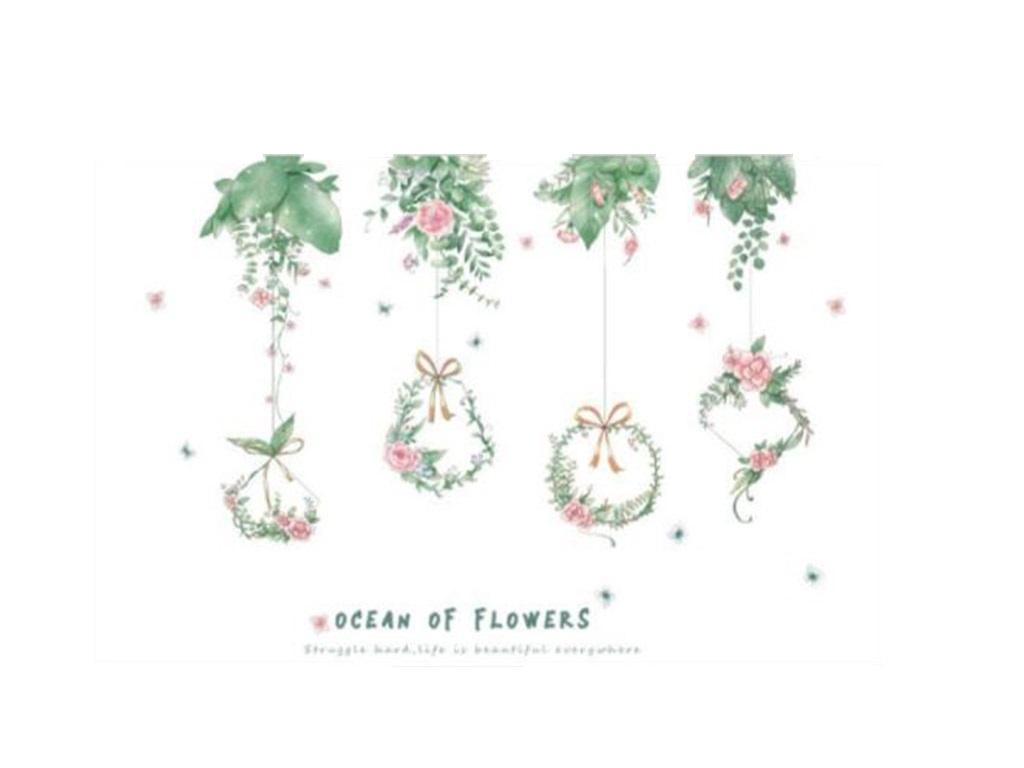 stickere-perete-flori-folina-coronite-verzi-60-90-cm-2534