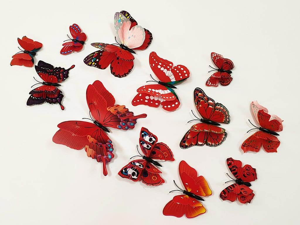 stickere-perete-fluturi-3D-rosii-1115