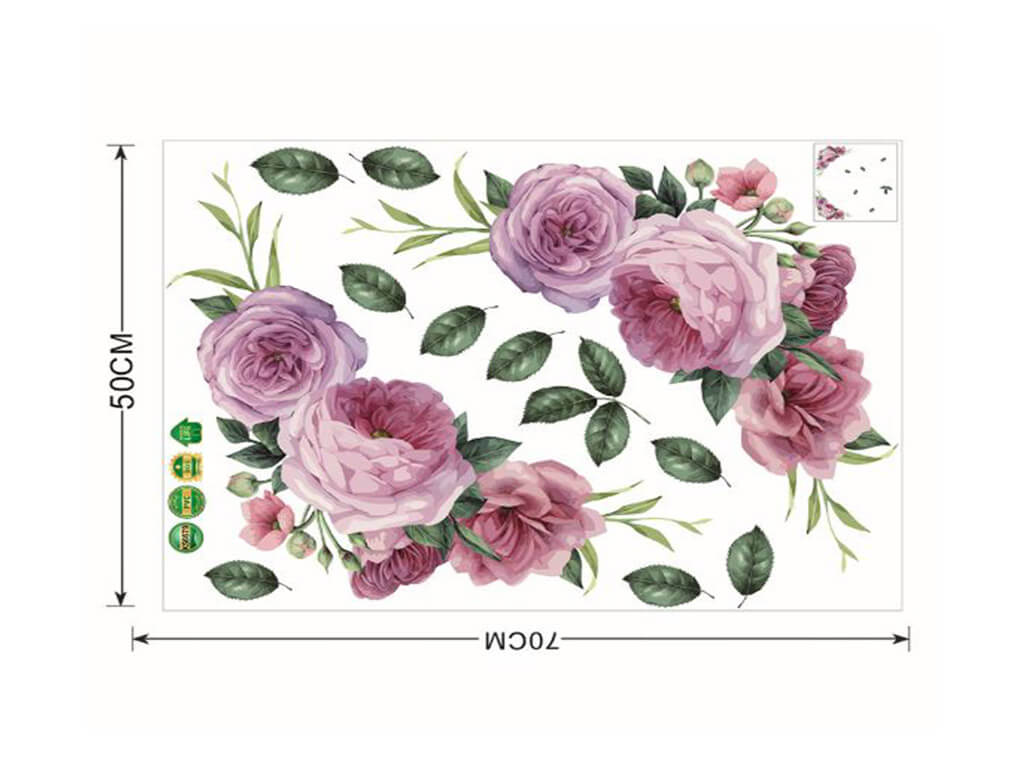 Stickere perete, Folina, model floral mov, 50x70 cm