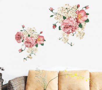 Stickere flori, Folina, decor floral bej, 75x95 cm