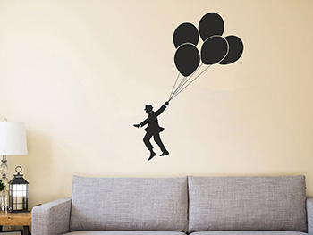 Sticker decorativ Baloon man, Folina, negru, 100x75cm
