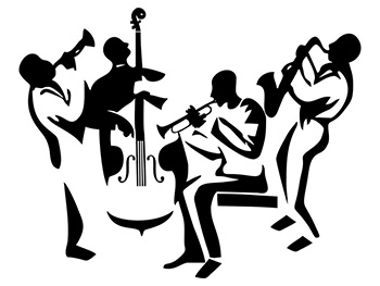 Sticker perete decorativ Jazz Band, Folina, negru, 120x98cm
