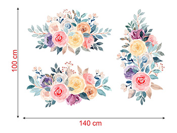 Set 3 Stickere perete, Folina, model floral watercolor, multicolor