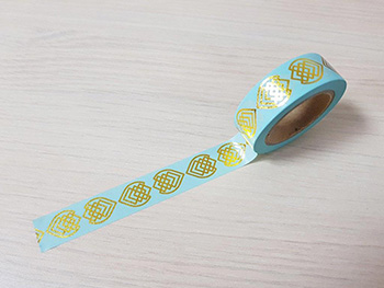 Bandă adezivă Washi Tape Aqua Gold Design