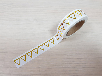 Bandă adezivă Washi Tape Goldie, model auriu, 15 mm x 10 metri