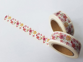 Bandă adezivă Washi Tape model floral 4