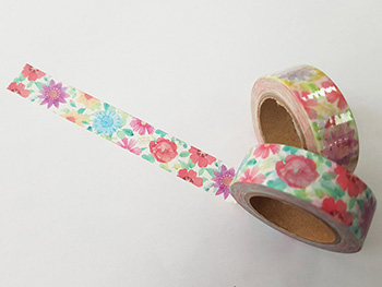 Bandă adezivă Washi Tape model floral 7