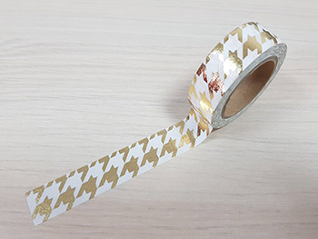 Bandă adezivă Washi Tape model geometric auriu