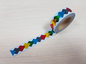 Bandă adezivă Washi Tape, Folina, model romburi colorate, efect metalic, 15mm x 10m