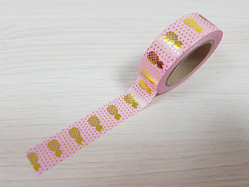 Bandă adezivă Washi Tape roz Pineapple Gold