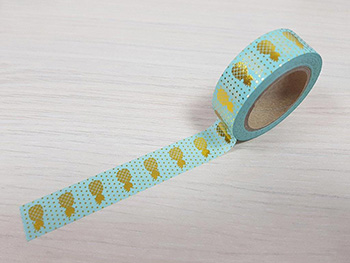 Bandă adezivă Washi Tape turcoaz Pineapple Gold