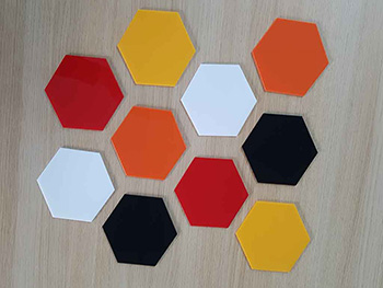 Decoraţiune hexagoane, Folina, aspect lucios, multicolor, set 10 bucăți