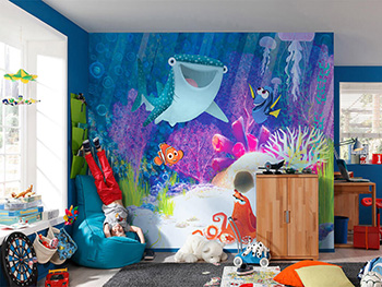 Fototapet copii, Komar, Dory Aqua Party, peisaj marin multicolor, 300x280 cm