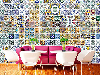 Fototapet Portugal Tiles, Dimex, model faianţă decorativă, multicolor, 375x250 cm