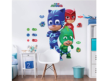 Mega Sticker Eroi în pijama PJ Masks, Walltastic, decorațiune multicoloră, set cu mai multe stickere